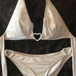 Victoria's Secret Swim - White Victoria's Secret Heart Bikini